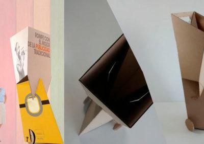 Carrito para exposiciones en carton organico - Publicidad no convencional